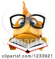 Clipart Of A 3d Bespectacled Goldfish Reading A Book 3 Royalty Free CGI Illustration
