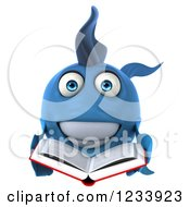 Clipart Of A 3d Blue Fish Reading A Book Royalty Free CGI Illustration