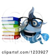 Clipart Of A 3d Bespectacled Blue Fish With A Stack Of Books Royalty Free CGI Illustration