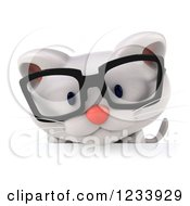 Clipart Of A 3d Bespectacled White Kitten Looking Down Over A Sign Royalty Free CGI Illustration