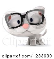 Clipart Of A 3d Bespectacled White Kitten Royalty Free CGI Illustration by Julos