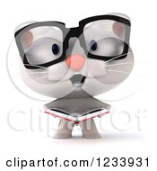 Clipart Of A 3d Bespectacled White Kitten Reading A Book Royalty Free CGI Illustration