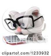 Clipart Of A 3d Bespectacled White Kitten Reading A Book 2 Royalty Free CGI Illustration