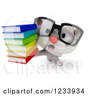 Clipart Of A 3d Bespectacled White Kitten Holding A Stack Of Books Royalty Free CGI Illustration