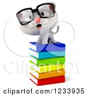 Clipart Of A 3d Bespectacled White Kitten On A Stack Of Books Royalty Free CGI Illustration