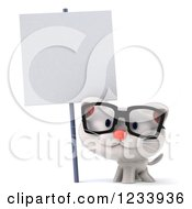 Clipart Of A 3d Bespectacled White Kitten By A Blank Sign Royalty Free CGI Illustration