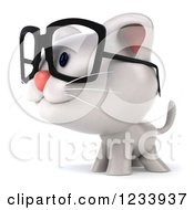 Clipart Of A 3d Bespectacled White Kitten Facing Left Royalty Free CGI Illustration