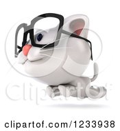 Clipart Of A 3d Bespectacled White Kitten Running Royalty Free CGI Illustration