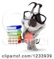 Clipart Of A 3d Bespectacled Jack Russell Terrier Dog With A Stack Of Books Royalty Free CGI Illustration