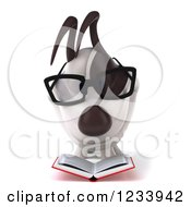 Clipart Of A 3d Bespectacled Jack Russell Terrier Dog Reading 3 Royalty Free CGI Illustration
