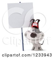 Clipart Of A 3d Happy Jack Russell Terrier Dog Wearing A Baseball Cap By A Sign Royalty Free CGI Illustration