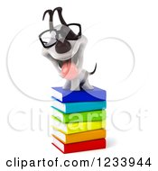 Clipart Of A 3d Bespectacled Jack Russell Terrier Dog On A Stack Of Books Royalty Free CGI Illustration