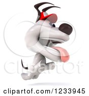 Clipart Of A 3d Happy Jack Russell Terrier Dog Jumping And Wearing A Baseball Cap Royalty Free CGI Illustration