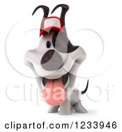 Clipart Of A 3d Happy Jack Russell Terrier Dog Wearing A Baseball Cap Royalty Free CGI Illustration by Julos
