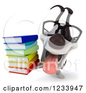 Clipart Of A 3d Bespectacled Jack Russell Terrier Dog With A Stack Of Books 2 Royalty Free CGI Illustration