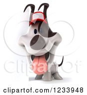 Clipart Of A 3d Happy Jack Russell Terrier Dog Wearing A Baseball Cap By A Sign 2 Royalty Free CGI Illustration