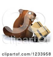 Clipart Of A 3d Beaver Moving Boxes On A Dolly Royalty Free CGI Illustration