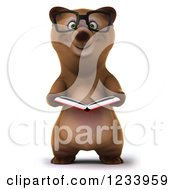 Clipart Of A 3d Bespectacled Brown Bear Reading A Book Royalty Free CGI Illustration