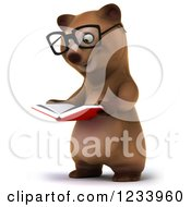 Clipart Of A 3d Bespectacled Brown Bear Reading A Book 2 Royalty Free CGI Illustration