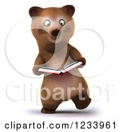 Clipart Of A 3d Brown Bear Walking And Reading A Book Royalty Free CGI Illustration