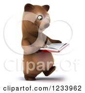 Clipart Of A 3d Brown Bear Walking And Reading A Book 2 Royalty Free CGI Illustration