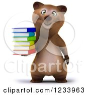 Clipart Of A 3d Brown Bear Holding A Stack Of Books Royalty Free CGI Illustration by Julos