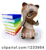 Clipart Of A 3d Brown Bear Holding A Thumb Up And A Stack Of Books Royalty Free CGI Illustration