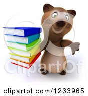 Clipart Of A 3d Brown Bear Holding A Thumb Down And A Stack Of Books Royalty Free CGI Illustration