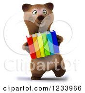 Clipart Of A 3d Brown Bear Carrying A Stack Of Books Royalty Free CGI Illustration