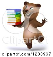 Clipart Of A 3d Brown Bear Jumping With A Stack Of Books Royalty Free CGI Illustration