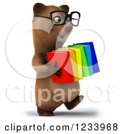 Clipart Of A 3d Bespectacled Brown Bear Carrying A Stack Of Books Royalty Free CGI Illustration