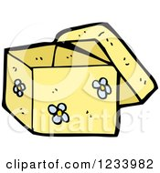 Clipart Of A Yellow Floral Box Royalty Free Vector Illustration