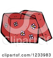 Clipart Of A Red Floral Box Royalty Free Vector Illustration