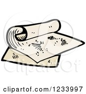 Clipart Of Rolled Maps Royalty Free Vector Illustration by lineartestpilot
