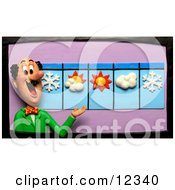 Clay Sculpture Clipart Meteorologist Weather Man And Five Day Forecast Royalty Free 3d Illustration