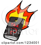 Clipart Of A Burning Tax Book Royalty Free Vector Illustration
