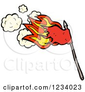 Clipart Of A Flaming Red Flag Royalty Free Vector Illustration by lineartestpilot