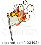 Clipart Of A Flaming Beige Flag Royalty Free Vector Illustration by lineartestpilot