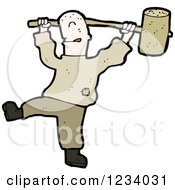 Clipart Of A Man Swinging A Wood Hammer Royalty Free Vector Illustration by lineartestpilot
