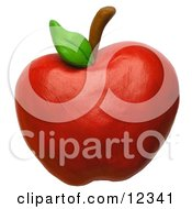 Clay Sculpture Clipart Red Delicious Apple Royalty Free 3d Illustration