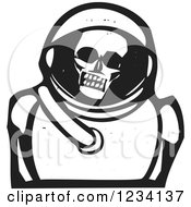 Woodcut Skull In An Astronaut Space Suit In Black And White