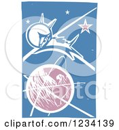Clipart Of A Woodcut Laika Space Dog Over Earth Royalty Free Vector Illustration by xunantunich