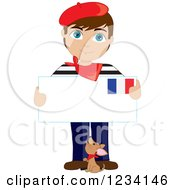 Clipart Of A Dog And A Traditionally Dressed French Boy Holding An Envelope Royalty Free Vector Illustration