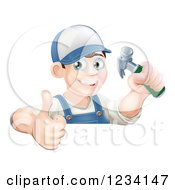 Poster, Art Print Of Happy Carpenter Man Holding A Thumb Up And Hammer Over A Sign