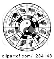 Clipart Of A Black And White Chinese Zodiac And Yin Yang Royalty Free Vector Illustration