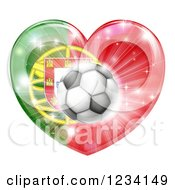 Clipart Of A 3d Reflective Portugal Flag Heart And Soccer Ball Royalty Free Vector Illustration