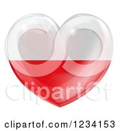 Clipart Of A 3d Reflective Poland Flag Heart Royalty Free Vector Illustration