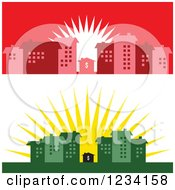 Clipart Of Little Dollar Houses Surrounded By Buildings At Sunrise Royalty Free Vector Illustration