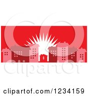 Clipart Of A Little Dollar House Surrounded By Buildings At Sunrise In Red Tones Royalty Free Vector Illustration by BestVector