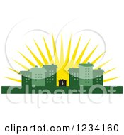 Clipart Of A Little Dollar House Surrounded By Green Buildings At Sunrise Royalty Free Vector Illustration by BestVector